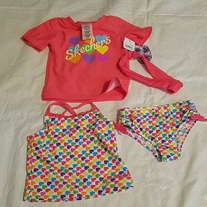 Skechers 4 Piece Pink Bathing Suit Set Sz 2T NEW